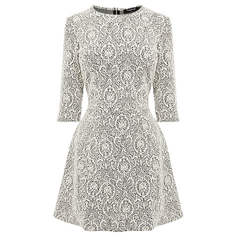 Buy Warehouse Jacquard Dress, Cream Online at johnlewis.com