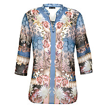 Buy Gerry Weber Chiffon Patterned Kaftan Shirt, Blue/Pink Online at johnlewis.com