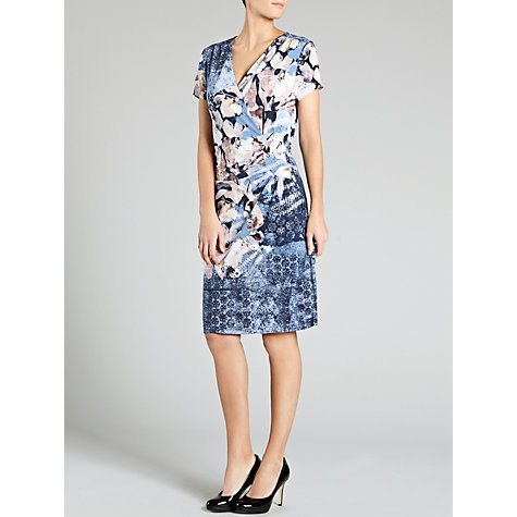 Buy Gerry Weber Patterned V-Neck Jersey Dress, Blue/Pink Online at johnlewis.com