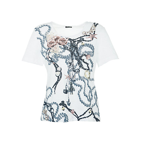 Buy Gerry Weber Slub Patterned T-Shirt, White Online at johnlewis.com