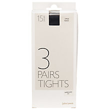 Buy John Lewis 15 Denier Ladder Resist Tights, Pack of 3 Online at johnlewis.com
