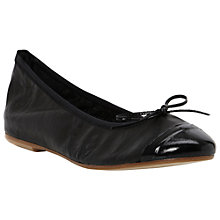 Buy Pied A Terre Garson Leather Bow Trim Toe Cap Ballerina Pumps, Black Online at johnlewis.com