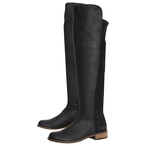 Buy Steve Madden Hazele Leather Boots, Black Online at johnlewis.com