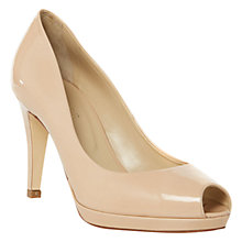Buy Hobbs Invitation Patent Leather Peep Toe Court Shoes, Light Nude Online at johnlewis.com