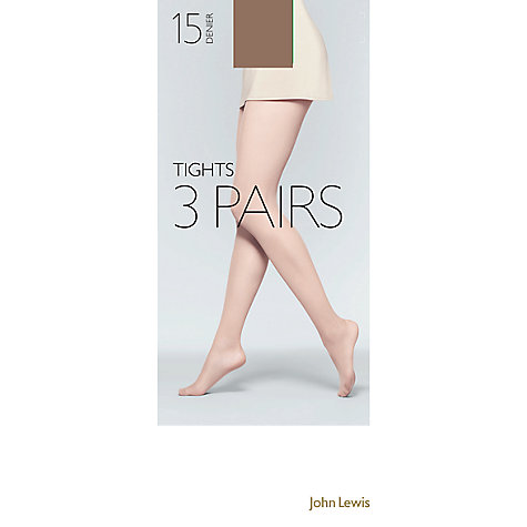 Buy John Lewis 15 Denier Tights,  Pack of 3, Cinnamon Online at johnlewis.com