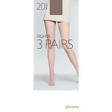 Buy John Lewis 20 Denier Tights, Pack of 3, Pewter Online at johnlewis.com