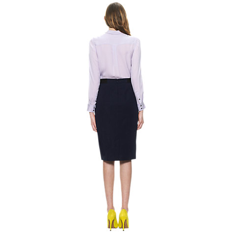 Buy Whistles Maddy Contrast Waistband Pencil Skirt, Navy Online at johnlewis.com