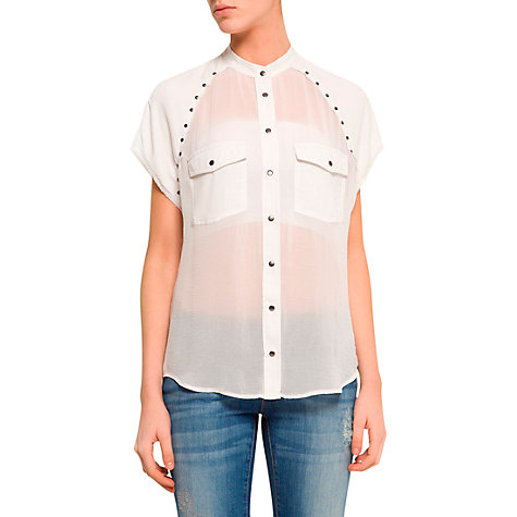 Buy Mango Studded Sheer Shirt, Off White Online at johnlewis.com