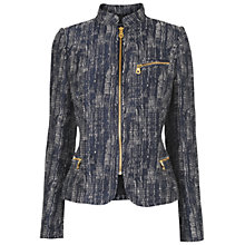 Buy Jaeger Textured Zip Detail Jacket, Navy Online at johnlewis.com