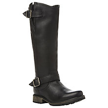 Buy Steve Madden Fairport Leather Side Zip Knee Boots, Black Online at johnlewis.com