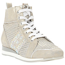 Buy Dune Luxurious Leather Perforated Panel Hi-Top Trainers, Silver Online at johnlewis.com