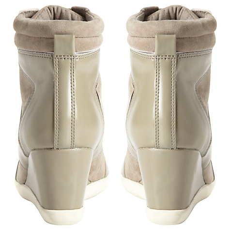 Buy Dune Lapin Suede and Leather Wedge High Top Trainers, Grey Online at johnlewis.com