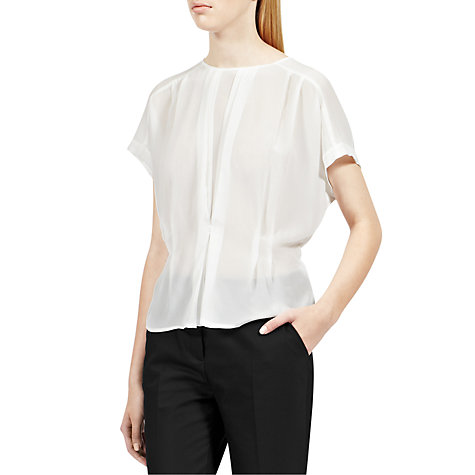Buy Reiss Penny Tuck Front Button Back Top Online at johnlewis.com