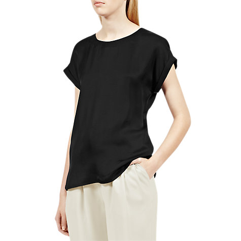Buy Reiss Eleanor Button Back Top, Black Online at johnlewis.com