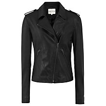 Buy Reiss Kara Slim Cropped Biker Jacket, Black Online at johnlewis.com