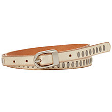 Buy Fossil Rivet Centerbar Belt, Neutral/Silver Online at johnlewis.com
