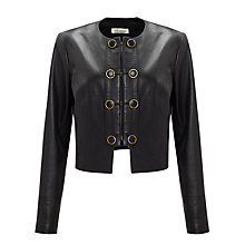 Buy Somerset by Alice Temperley Button Detail Leather Jacket, Black Online at johnlewis.com