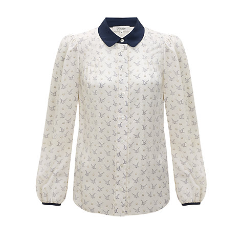 Buy Somerset by Alice Temperley Bird Print Blouse, Cream/Blue Online at johnlewis.com
