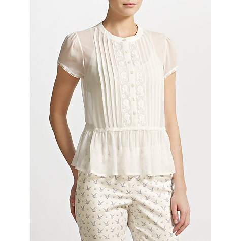Buy Somerset by Alice Temperley Lace Trim Blouse, Cream Online at johnlewis.com
