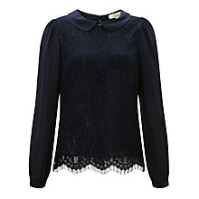 Buy Somerset by Alice Temperley Lace Bodice Blouse, Midnight Online at johnlewis.com
