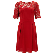 Buy Somerset by Alice Temperley Lace Bodice Dress, Claret Online at johnlewis.com