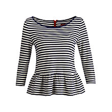 Buy Joules Kensley Stripe Peplum Top, Navy/Porcelain Online at johnlewis.com