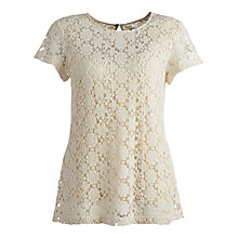 Buy Joules Lissy Crochet Top, Porcelain Online at johnlewis.com