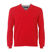 Buy Aquascutum Embroidered Crest V-Neck Jumper Online at johnlewis.com