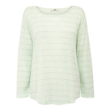 Buy Oasis Sparkle Stripe Long Sleeve Top, Multi Blue Online at johnlewis.com
