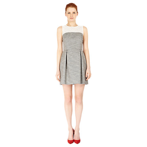 Buy Warehouse Tweed Lace Dress, Grey Online at johnlewis.com