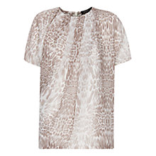 Buy Mango Animal Print Sheer Top, Mystery Online at johnlewis.com