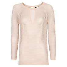 Buy Mango Striped Openwork Jumper, Nude Online at johnlewis.com