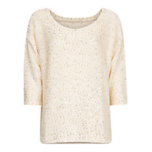 Buy Mango Oversized Sequin Jumper, Ivory Online at johnlewis.com