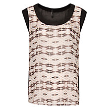 Buy Mango Printed Panel Sheer Top, Nude Online at johnlewis.com