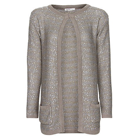 Buy Mango Sequined Long Cardigan, Grey Online at johnlewis.com