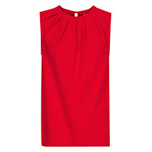 Buy Mango Pleated Neck Top, Red Online at johnlewis.com