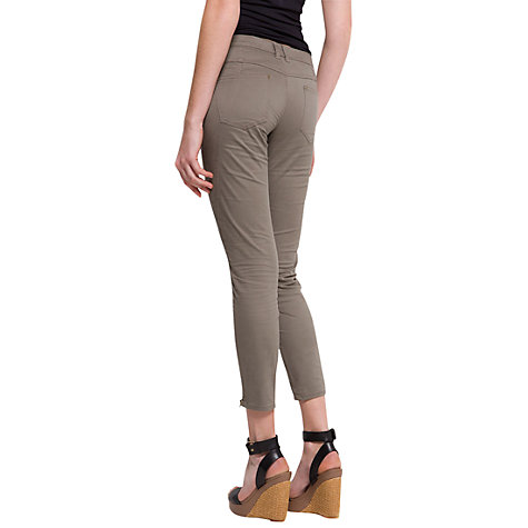 Buy Mango Zipper Cropped Trousers, Khaki Online at johnlewis.com