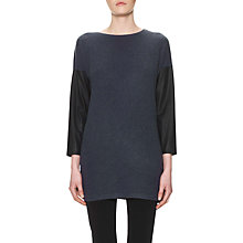 Buy Whistles Contrast Sleeve Texture Tunic Top, Navy Online at johnlewis.com