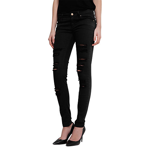 Buy Mango Distressed Super Slim Jeans, Black Online at johnlewis.com