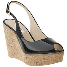 Buy L.K. Bennett Rosie Patent Leather Wedge Heel Sandals, Black Online at johnlewis.com