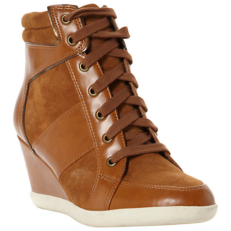 Buy Dune Lapin Suede and Leather Panel Wedge Trainers, Tan Online at johnlewis.com