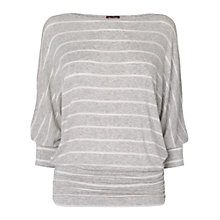 Buy Phase Eight Dana Jersey Top, Grey Marl/White Online at johnlewis.com