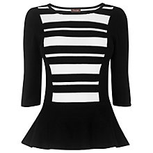 Buy Phase Eight Olivia Striped Peplum Top, Black Online at johnlewis.com