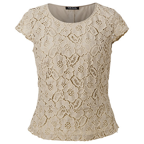 Buy Betty Barclay Lace Peplum Top, Zabaione Online at johnlewis.com