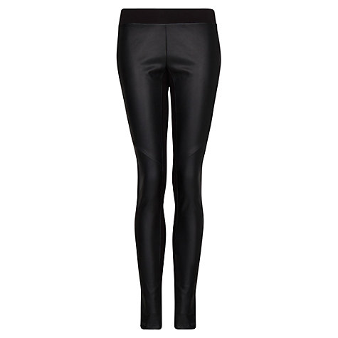 Buy Mango Leather Panel Leggings, Black Online at johnlewis.com