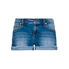 Buy Mango Frayed Denim Shorts, Blue Online at johnlewis.com