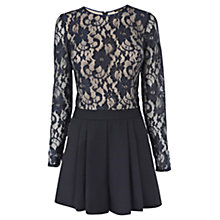 Buy Warehouse Lace Top Playsuit, Navy Online at johnlewis.com