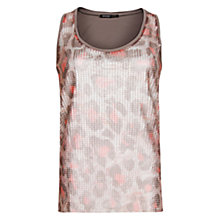 Buy Mango Animal Print Sequined Top, Khaki Online at johnlewis.com