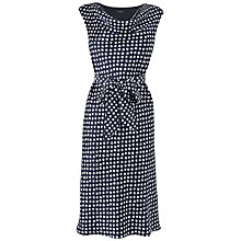Buy Jaeger Cowl Neck Spot Dress, Navy Online at johnlewis.com