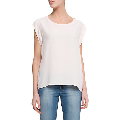 Buy Mango Pleated Neck Blouse, Pink Online at johnlewis.com